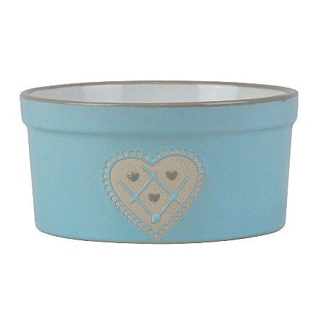 Potinho Azul de Coração em Cerâmica