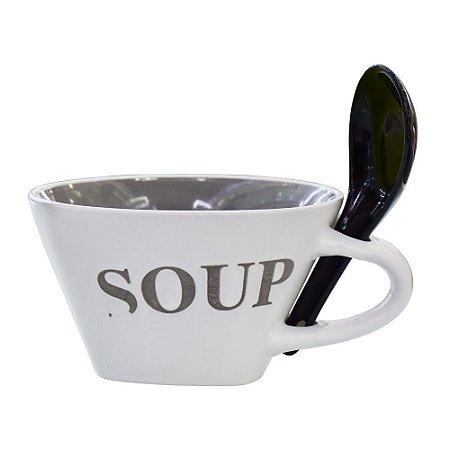 Bowl Soup com Colher Tigela Cinza