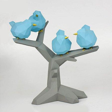 Enfeite Galho com Pássaros Azuis