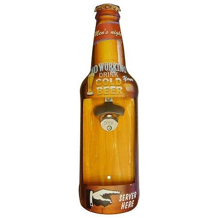 Abridor de Parede em Metal Gold Beer