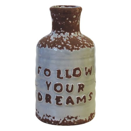 Vaso de Cerâmica Garrafa Follow Your Dreams