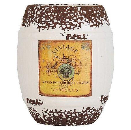 Vaso de Cerâmica Rústico Barril Branco