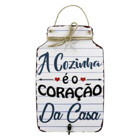 Decorativo de Madeira Tag A Cozinha é o Coração...