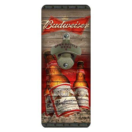 Abridor de Garrafa Quadrado de Parede Budweiser