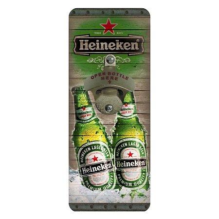 Abridor de Garrafa Quadrado de Parede Heineken