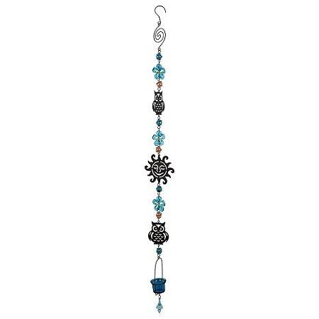 Pendente Porta Vela Coruja c/ flor Azul