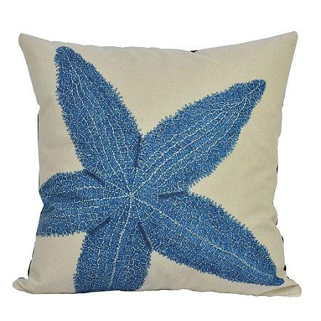 Almofada Náutica Estrela Azul e Branca