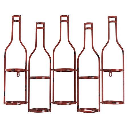 Porta Vinho de Metal Vermelho