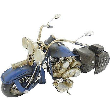 Enfeite Motocicleta Chopper Azul em Metal