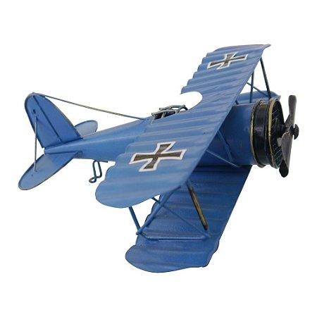 Decorativo Avião Azul de Metal