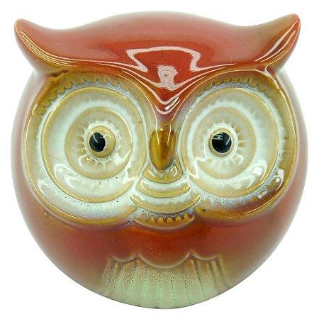 Cofre Decorativo Coruja Vermelha