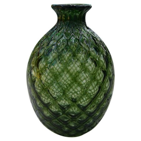 Vaso Redondo Verde de Vidro
