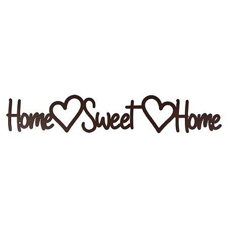 Placa Home Sweet Home em Metal Marrom