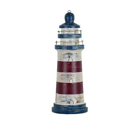 Farol Decorativo Azul e Vermelho Pequeno