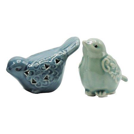 Jogo c/2 Passarinhos Azuis em Cerâmica