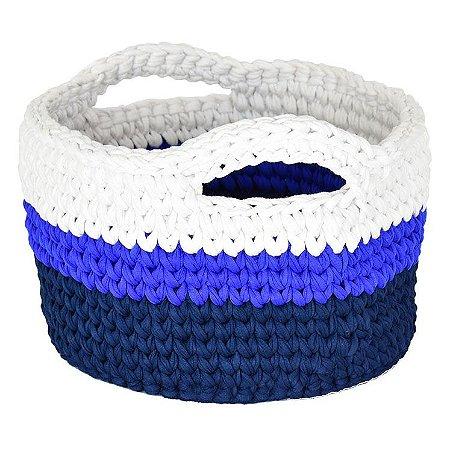 Cesto Organizador M Azul e Branco