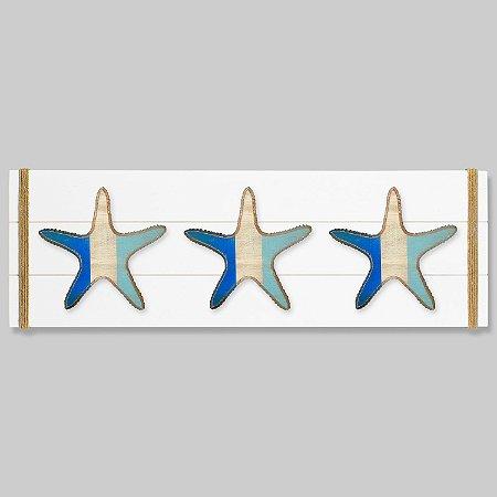 Quadro Branco com Estrelas em Tom de Azul em Madeira