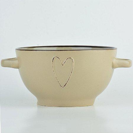 Bowl Coração Bege em Cerâmica