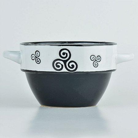 Tigela Arabesco Preto em Cerâmica
