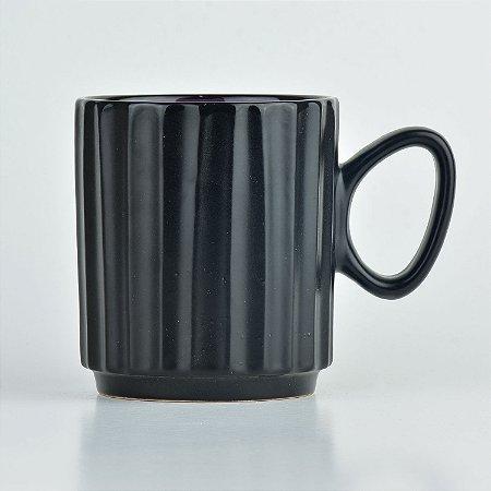 Caneca Black Roxo em Cerâmica
