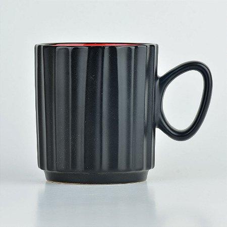 Caneca Black Vermelho em Cerâmica