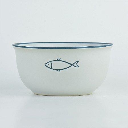 Tigela Náutica Branca Peixe em Cerâmica
