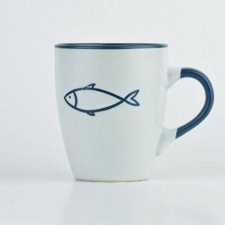 Caneca Branca Nautica Peixe em Cerâmica