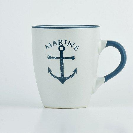 Caneca Branca Nautica Âncora em Cerâmica