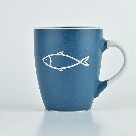 Caneca Azul Nautica Peixe em Cerâmica