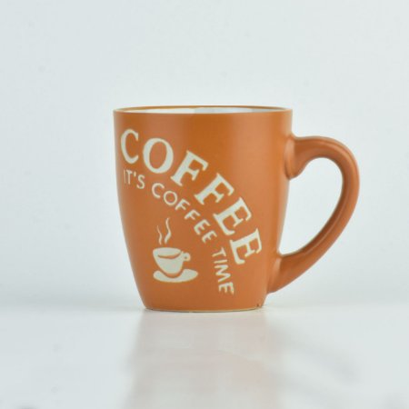 Caneca Coffee Time Caramelo em Cerâmica