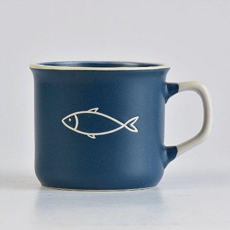 Caneca Ocean Azul Peixe em Cerâmica