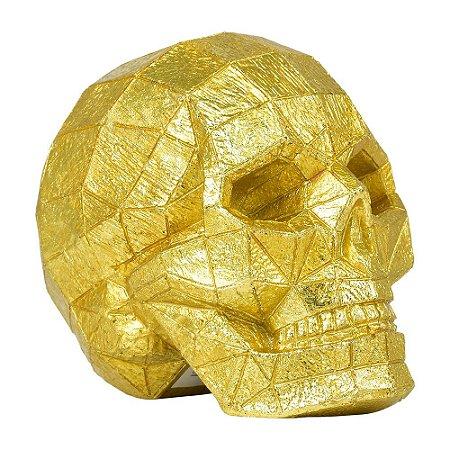 Caveira Decorativa Dourada