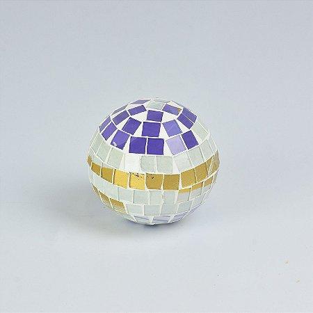 Enfeite Bola Branca Mosaico Pequena