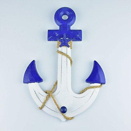 Cabideiro Âncora Branca e Azul em Madeira