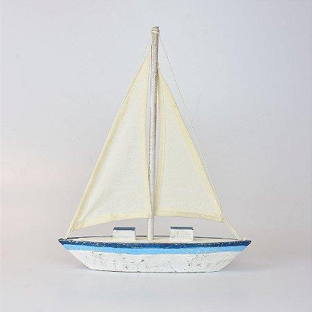 Veleiro Decoratico Azul e Branco G