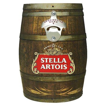Abridor de Garrafa Barril Stella Artois em Madeira