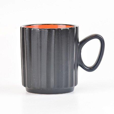 Caneca Black Laranja em Cerâmica