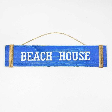 Placa Beach House Azul Escuro