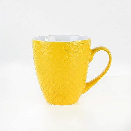 Caneca Texturizada Amarela em Cerâmica