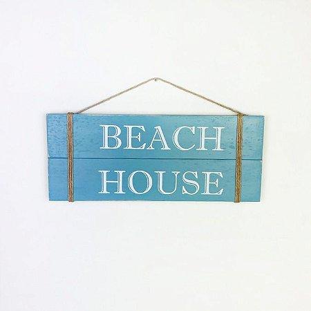 Placa Beach House Azul Claro