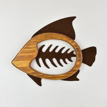 Quadro Espinha de Peixe Marrom Médio