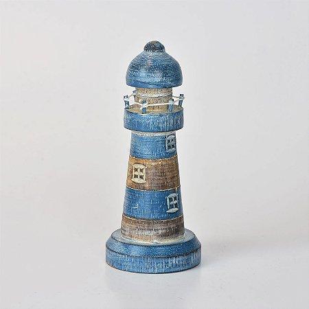Farol Decor Azul Escuro e Marrom 20 cm