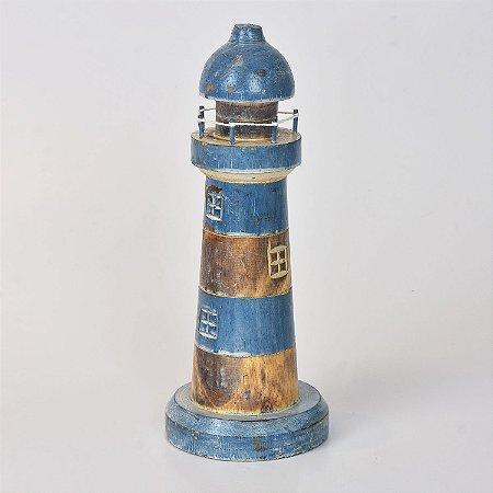 Farol Decor Azul Escuro e Marrom 30 cm