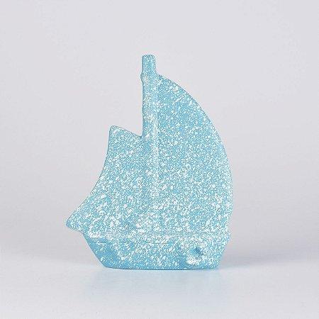 Enfeite Barquinho Azul Claro Chapiscado em Cerâmica