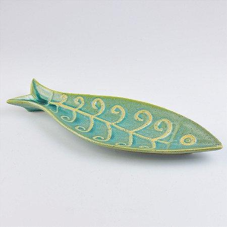Petisqueira Peixe Aqua em Cerâmica