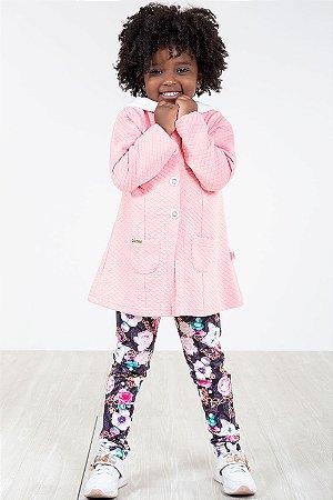 Conjunto infantil casaco com capuz e legging