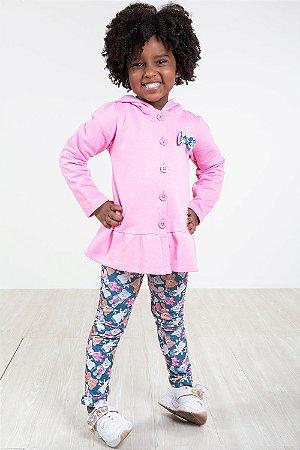 Conjunto infantil casaco com capuz e legging kiko