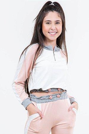 Blusa juvenil moletinho com recortes e zíper