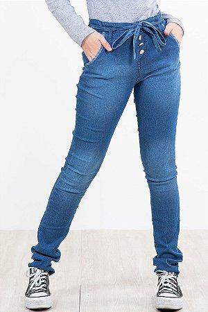 Calça jeans juvenil 4 botões com bolso