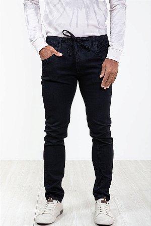 Calça jeans com elástico e cordão cintura